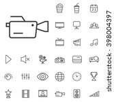 linear cinema icons set....
