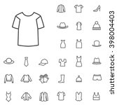 linear clothes icons set....