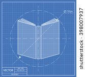 open book blueprint icon  | Shutterstock .eps vector #398007937