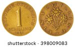 Small photo of Aluminum bronze 1 schilling 1961 coin isolated on white background, Austria