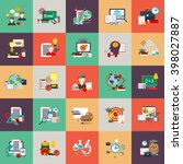 flat conceptual icons set of... | Shutterstock .eps vector #398027887