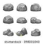 stones and rocks in cartoon... | Shutterstock .eps vector #398031043