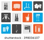 flat wine and drink icons  ... | Shutterstock .eps vector #398036107