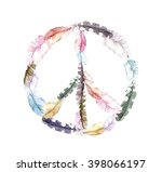 peace sign with bird feathers.... | Shutterstock . vector #398066197