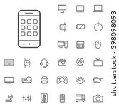 linear device icons set....