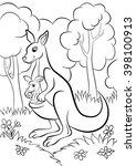Coloring Page. Cute Kangaroo...