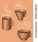 cups. design set. hand drawn... | Shutterstock .eps vector #398123863