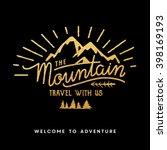 mountain adventure lettering | Shutterstock .eps vector #398169193