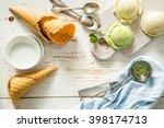 pistacio and vanilla ice cream  ... | Shutterstock . vector #398174713