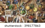 brunch choice crowd dining food ... | Shutterstock . vector #398177863