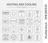 heating and cooling line icons...   Shutterstock .eps vector #398180533