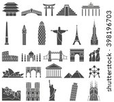 world landmarks outline icons ... | Shutterstock .eps vector #398196703