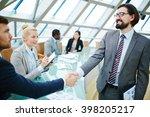 handshake after introduction   Shutterstock . vector #398205217