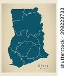 modern map   ghana with regions ... | Shutterstock .eps vector #398223733