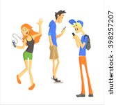 three young people using... | Shutterstock .eps vector #398257207