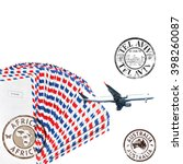 Small photo of Post envelopes, plane and post stamps. White background. Air mail theme