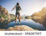 man jumping flying levitation... | Shutterstock . vector #398287597