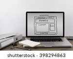 office desk with a laptop.... | Shutterstock . vector #398294863
