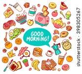 colorful vector breakfast yummy ...   Shutterstock .eps vector #398305267