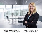 blonde business woman with... | Shutterstock . vector #398330917