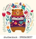 vector pattern with  adorable... | Shutterstock .eps vector #398363857