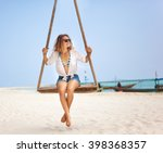 beautiful happy girl on a swing ... | Shutterstock . vector #398368357