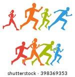 flat figures marathoner.... | Shutterstock . vector #398369353