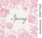vector frame with spring... | Shutterstock .eps vector #398377663