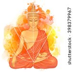 sitting buddha over watercolor... | Shutterstock .eps vector #398379967