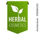 herbal cosmetics green tag... | Shutterstock . vector #398384233