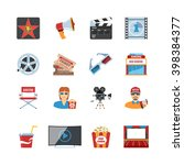 colorful  vector set of cinema... | Shutterstock .eps vector #398384377