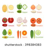 colorful  vector set of fresh... | Shutterstock .eps vector #398384383