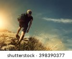 Man Climb On Mountain Hill