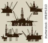 offshore oil platforms | Shutterstock .eps vector #398391313