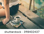 notebooks  pen  glasses  and... | Shutterstock . vector #398402437