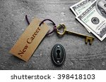 vintage key with new career tag