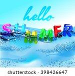 hello summer beach party flyer. ...   Shutterstock .eps vector #398426647