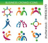 set of icons crowd business... | Shutterstock .eps vector #398436193