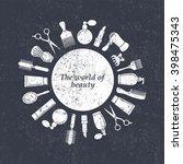 beauty salon logo. hairdresser... | Shutterstock .eps vector #398475343
