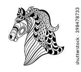 linear decorative horse.... | Shutterstock .eps vector #398478733