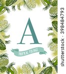tropical foliage frame template | Shutterstock .eps vector #398484793