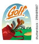golf poster with a bag and golf ...   Shutterstock .eps vector #398489887