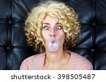 portrait of curly blond cross... | Shutterstock . vector #398505487