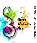 line art of mother silhouette... | Shutterstock .eps vector #398507107