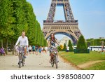 romantic couple riding bicycles ... | Shutterstock . vector #398508007