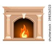 fireplace in flat style... | Shutterstock .eps vector #398526523