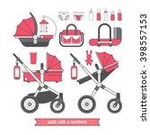 baby pram. vector baby carriage ... | Shutterstock .eps vector #398557153
