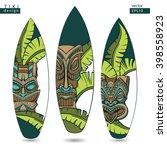 vector surfboard. tiki design   Shutterstock .eps vector #398558923