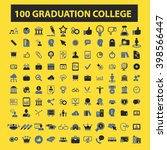 graduation college icons  | Shutterstock .eps vector #398566447