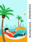 man chilling in hammock. | Shutterstock . vector #398584453